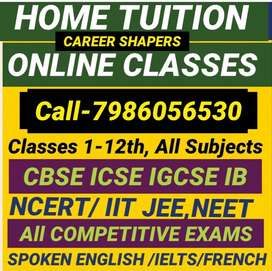 Avail 1-12th Home tuition & Online classes,Qualifed tutors,free demo