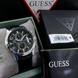 Guess Pria W0076G1 Black Genuine Leather Original