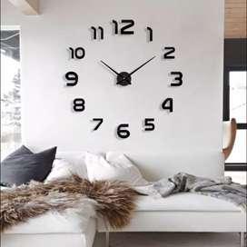 3D Giant clock jam dinding tempel besar DIY dekorasi 80-130 cm