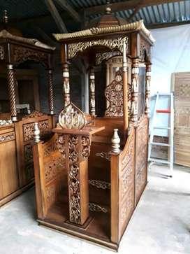 Jual mimbar masjid kubah kayu jati
