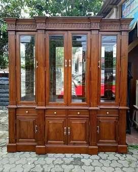 Almari hias model 4 pintu ful kayu jati.