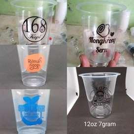 Sablon gelas plastik murah PP 12oz7gram