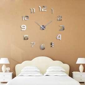 Jam Dinding Besar 3D Full Angka Dekorasi Giant Clock DIY Silent Move -