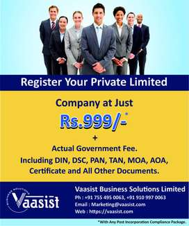 Company Registration at Just Rs.999/-*