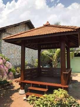Saung Gazebo kayu kelapa ukuran 2x2m ready