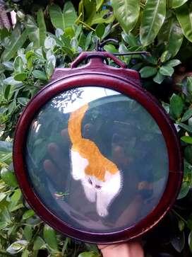 hiasan dinding, rajut..motif kucing