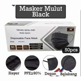 Masker mulut black 3 ply murah