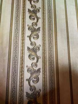 Jual wallpaper motif batik dan garis ukuran 53cm x 10meter