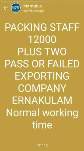 PACKING STAFFS WANTED IN EXPORT COMPANY ERNAKULAM