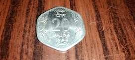 Old rare 1988 20 Paise coin  medivial coin collection