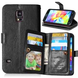 Wallet Case Samsung S5 Leather Case With 9 Card Slot 2 In 1 Magnetic
