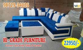new royal look l shape corner sofa nine seater with table