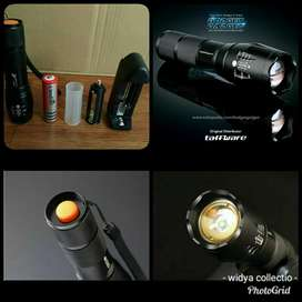 paket Senter LED E17 lengkap dgn baterai 18650+ charger