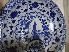 piring besar corak burung pinggir keriting antik kuno