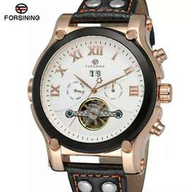 Men's watch mechanical automatic pu leather strap round dail