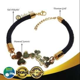 Gelang Tali Motif Bunga Gold Titanium Wanita Saby