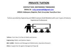 Private Tuition from Class 5 to10 - Science & Maths. Management papers