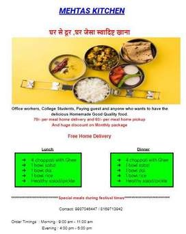 Home Cooked Food Tiffin Service at minimum cost