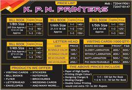 PRINTING SERVICES - GST BILL BOOK, VISITING CARD, LETTER HEAD ETC.,