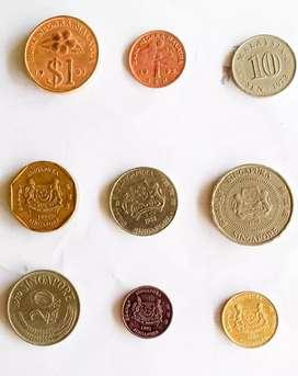 Kual koleksi uang logam lama.amerika, singapura,malaysia dan hongkong