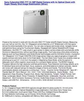Sony cyber-shot dsc-t77 Camera