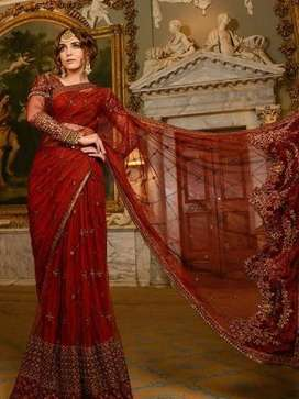 Maria B red saree branded