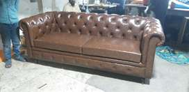 Chesterfield Three Plus Two Seats Drawing-room Sofa In Leather.