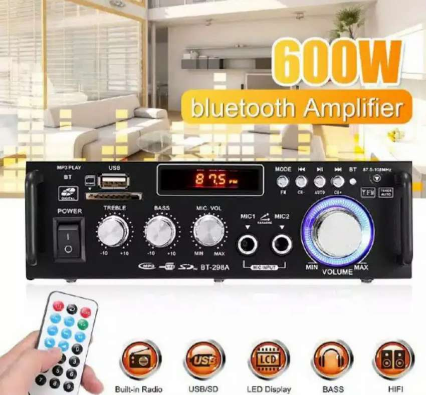 Junejour Bluetooth Eq Audio Amplifier Karaoke  Home Theater 600 Watt 0