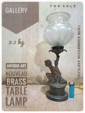 Antique Art Nouveau Brass Table Lamp