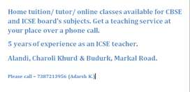 Home tutor/ tuitions for ICSE and CBSE boards in Alandi,