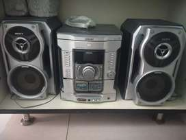 Sony home system with 3 dvd changer2 cassette player 2 side speakers