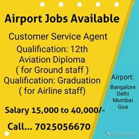 Airport jobs vacancy ..Bangalore delhi Mumbai and goa