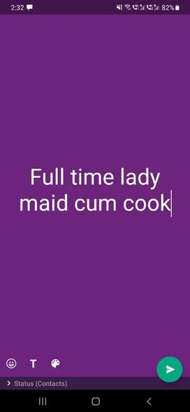Fulltime lady house maid cum cook for family in alkapur township