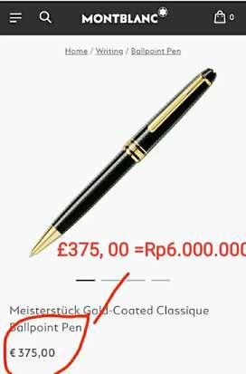 pen MONTBLANC Meister Stuck  100%Gold Coated Classique Ballpoint Pen
