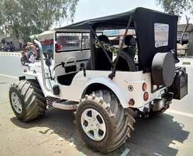 Modified plain white coloured willy jeep