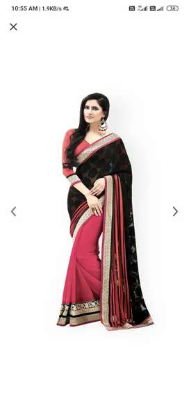 Black and pink fashion saree