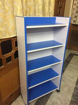 Book shelf for kids blue and white contrast