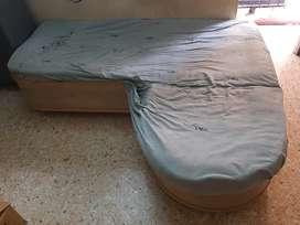 L shaped dewan with mattress