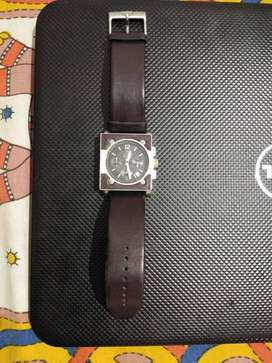 Titan Silver Chronograph Watch With Brown Leather Strap