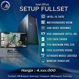 PC Rakitan Office Fullset Intel I5 3470 SSD 240GB Monitor 19inch Ready