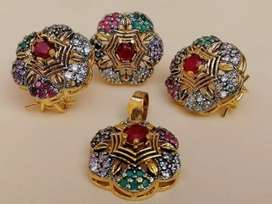 Gold plated set with free gold plated imported chain