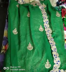 Partywear dresses saree green colour2200 +lehnga red4800+gown pnk 4800