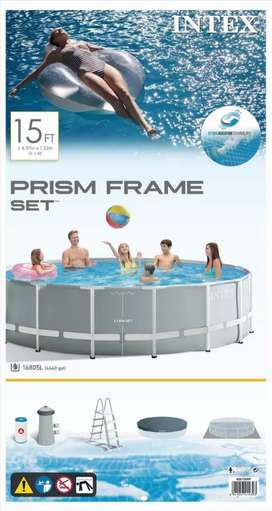 INTEX 26734 (size:15ft/42inc) metal frame swimming pool with ladders