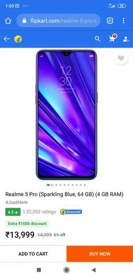 Realme 5 pro 4GB/64GB sealed pack brand new mobile