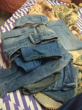 Old used jeans pants