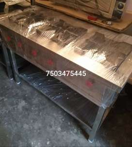 COMMERCIAL 3 RANGE BURNER UNUSED WITH STAINLESS STEEL BODY