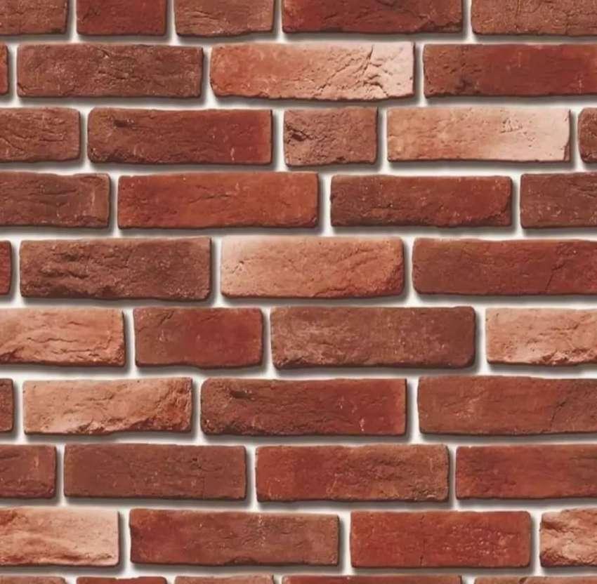 Wallpaper dinding  motif bata dan kayu