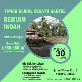 Tanah Dijual Sedayu Bantul Dekat Jalan Wates Pasti SHM