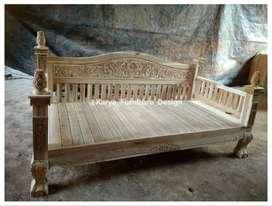 bale bale jati / daybed kayu ukir minimalis jepara kf-4662