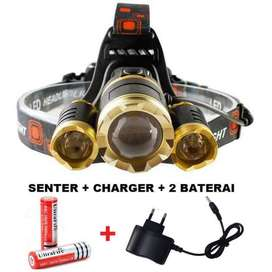 PROMO PAKET Senter kepala LED / Headlamp LED Cree XML T6 Bisa zoom